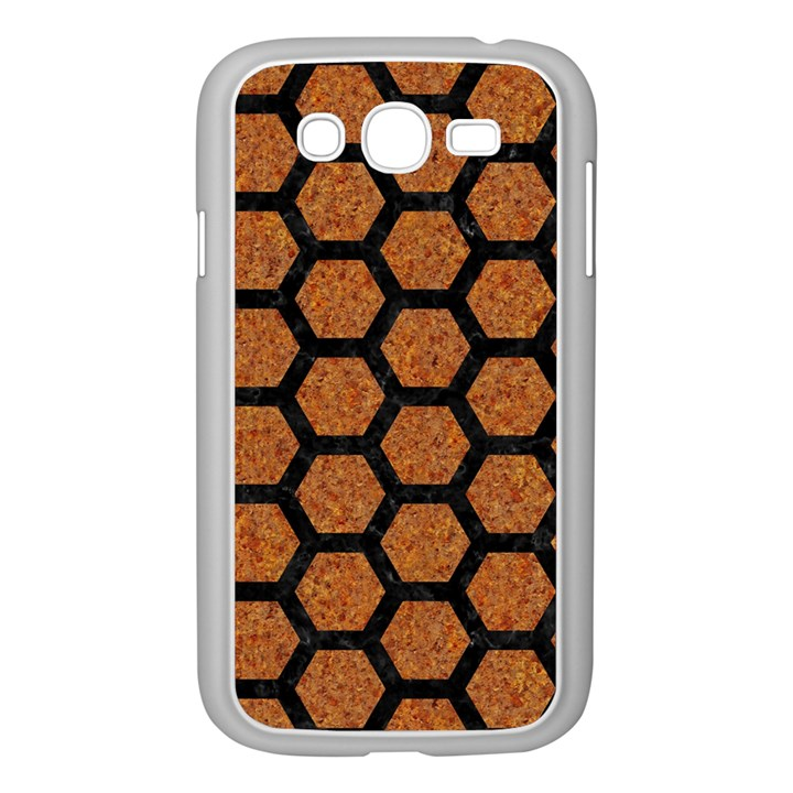 HEXAGON2 BLACK MARBLE & RUSTED METAL Samsung Galaxy Grand DUOS I9082 Case (White)