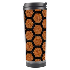 Hexagon2 Black Marble & Rusted Metal Travel Tumbler