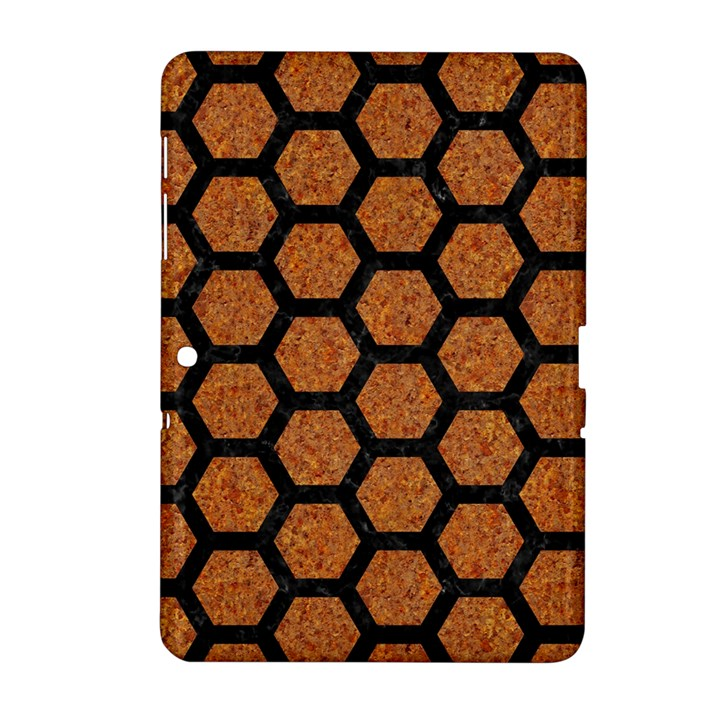 HEXAGON2 BLACK MARBLE & RUSTED METAL Samsung Galaxy Tab 2 (10.1 ) P5100 Hardshell Case