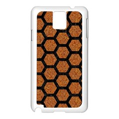 HEXAGON2 BLACK MARBLE & RUSTED METAL Samsung Galaxy Note 3 N9005 Case (White)