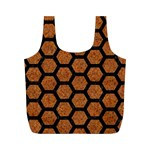 HEXAGON2 BLACK MARBLE & RUSTED METAL Full Print Recycle Bags (M)  Front