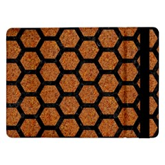 Hexagon2 Black Marble & Rusted Metal Samsung Galaxy Tab Pro 12 2  Flip Case