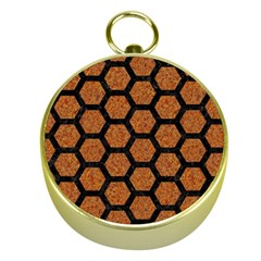HEXAGON2 BLACK MARBLE & RUSTED METAL Gold Compasses