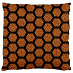 HEXAGON2 BLACK MARBLE & RUSTED METAL Standard Flano Cushion Case (One Side) Front
