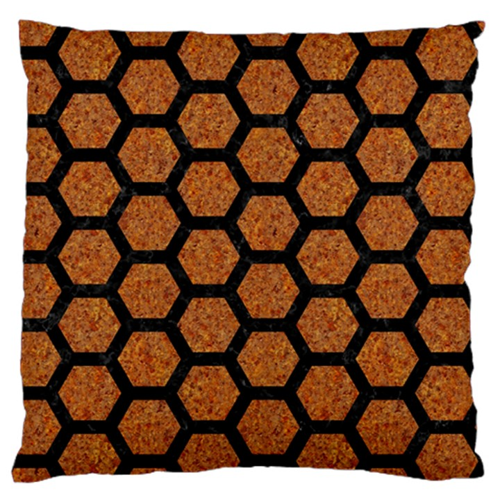 HEXAGON2 BLACK MARBLE & RUSTED METAL Standard Flano Cushion Case (One Side)
