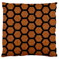 HEXAGON2 BLACK MARBLE & RUSTED METAL Large Flano Cushion Case (Two Sides)
