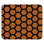 HEXAGON2 BLACK MARBLE & RUSTED METAL Double Sided Flano Blanket (Small)  50 x40 Blanket Back