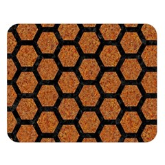 HEXAGON2 BLACK MARBLE & RUSTED METAL Double Sided Flano Blanket (Large)