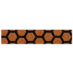 HEXAGON2 BLACK MARBLE & RUSTED METAL Flano Scarf (Small)