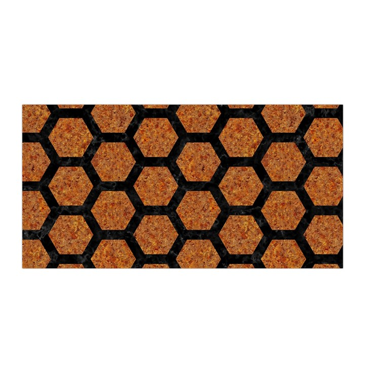 HEXAGON2 BLACK MARBLE & RUSTED METAL Satin Wrap