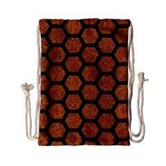 HEXAGON2 BLACK MARBLE & RUSTED METAL Drawstring Bag (Small)