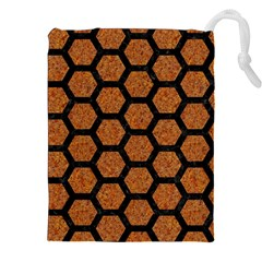 Hexagon2 Black Marble & Rusted Metal Drawstring Pouches (xxl)