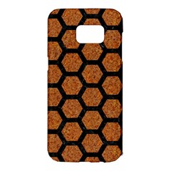 Hexagon2 Black Marble & Rusted Metal Samsung Galaxy S7 Edge Hardshell Case by trendistuff
