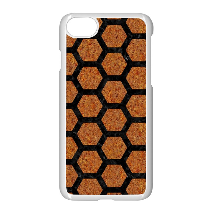 HEXAGON2 BLACK MARBLE & RUSTED METAL Apple iPhone 7 Seamless Case (White)