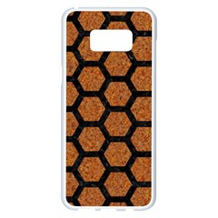 Hexagon2 Black Marble & Rusted Metal Samsung Galaxy S8 Plus White Seamless Case