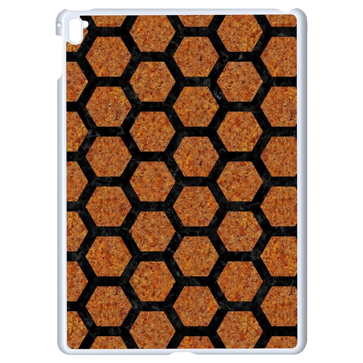 HEXAGON2 BLACK MARBLE & RUSTED METAL Apple iPad Pro 9.7   White Seamless Case