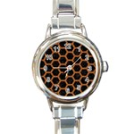 HEXAGON2 BLACK MARBLE & RUSTED METAL (R) Round Italian Charm Watch Front
