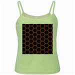 HEXAGON2 BLACK MARBLE & RUSTED METAL (R) Green Spaghetti Tank Front