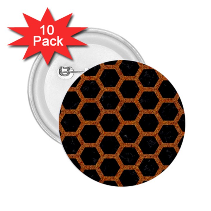 HEXAGON2 BLACK MARBLE & RUSTED METAL (R) 2.25  Buttons (10 pack)