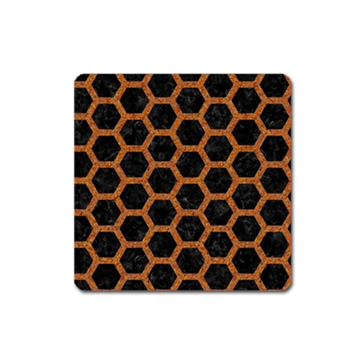 HEXAGON2 BLACK MARBLE & RUSTED METAL (R) Square Magnet