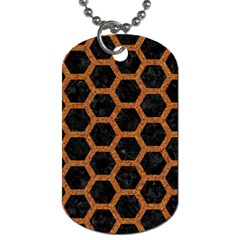Hexagon2 Black Marble & Rusted Metal (r) Dog Tag (one Side) by trendistuff
