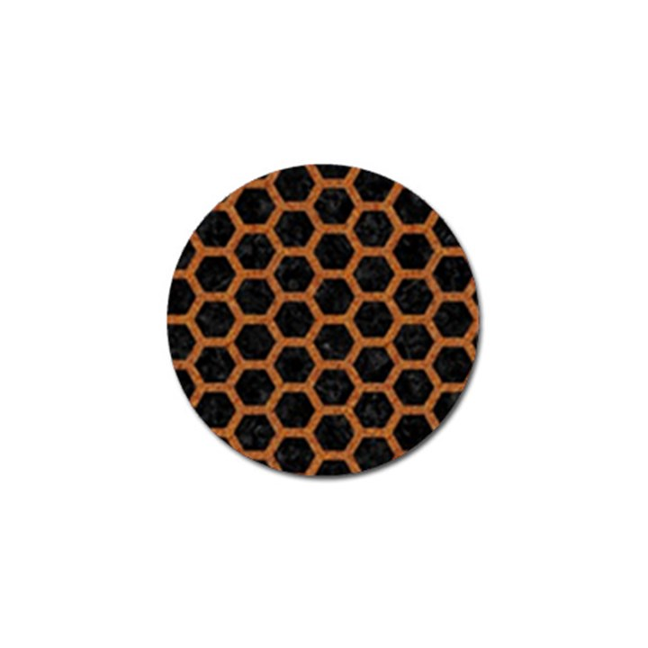 HEXAGON2 BLACK MARBLE & RUSTED METAL (R) Golf Ball Marker