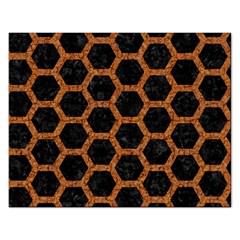 Hexagon2 Black Marble & Rusted Metal (r) Rectangular Jigsaw Puzzl