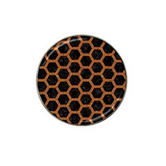 Hexagon2 Black Marble & Rusted Metal (r) Hat Clip Ball Marker by trendistuff