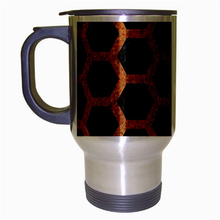 HEXAGON2 BLACK MARBLE & RUSTED METAL (R) Travel Mug (Silver Gray)