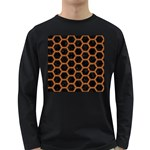 HEXAGON2 BLACK MARBLE & RUSTED METAL (R) Long Sleeve Dark T-Shirts Front