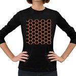 HEXAGON2 BLACK MARBLE & RUSTED METAL (R) Women s Long Sleeve Dark T-Shirts Front