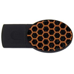 Hexagon2 Black Marble & Rusted Metal (r) Usb Flash Drive Oval (4 Gb) by trendistuff