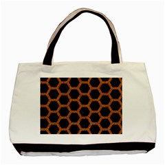 Hexagon2 Black Marble & Rusted Metal (r) Basic Tote Bag by trendistuff