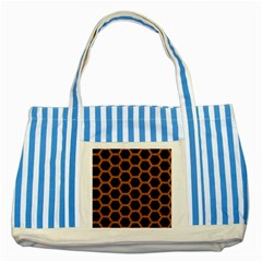 Hexagon2 Black Marble & Rusted Metal (r) Striped Blue Tote Bag by trendistuff