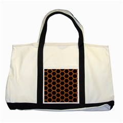 Hexagon2 Black Marble & Rusted Metal (r) Two Tone Tote Bag by trendistuff