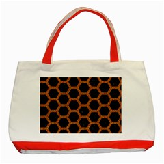 Hexagon2 Black Marble & Rusted Metal (r) Classic Tote Bag (red) by trendistuff