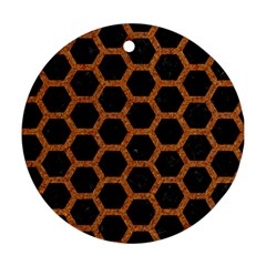 Hexagon2 Black Marble & Rusted Metal (r) Round Ornament (two Sides) by trendistuff