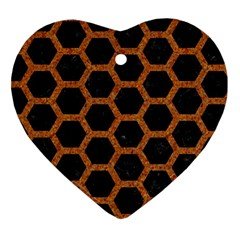 Hexagon2 Black Marble & Rusted Metal (r) Heart Ornament (two Sides) by trendistuff