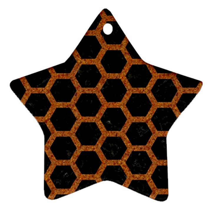 HEXAGON2 BLACK MARBLE & RUSTED METAL (R) Star Ornament (Two Sides)