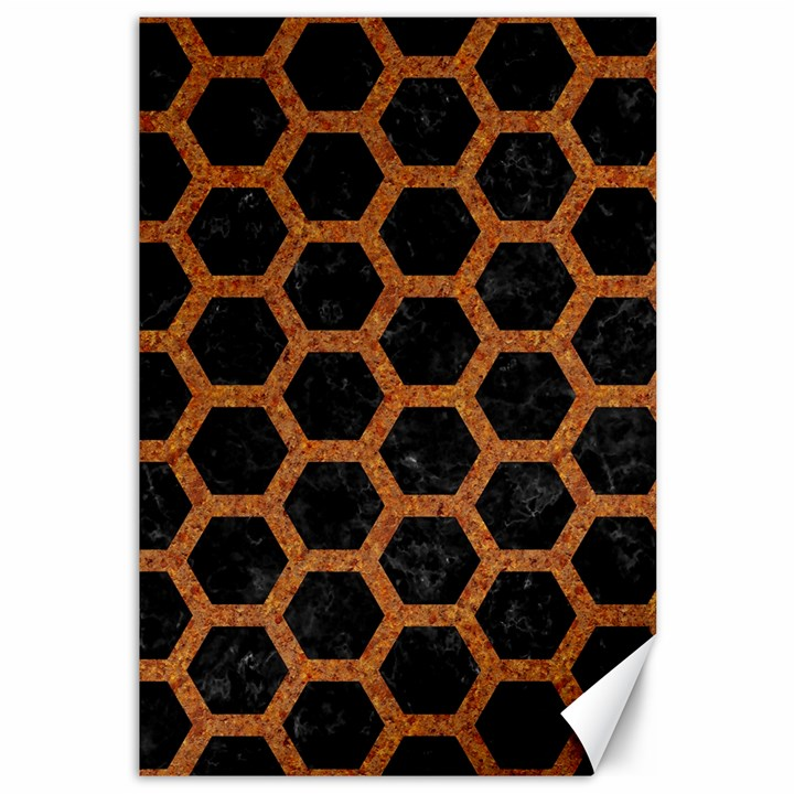 HEXAGON2 BLACK MARBLE & RUSTED METAL (R) Canvas 12  x 18