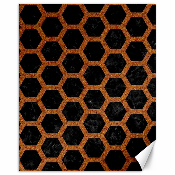 HEXAGON2 BLACK MARBLE & RUSTED METAL (R) Canvas 16  x 20