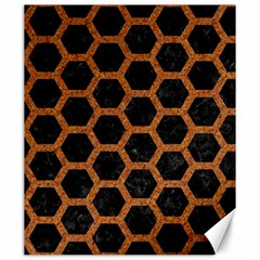 Hexagon2 Black Marble & Rusted Metal (r) Canvas 20  X 24   by trendistuff