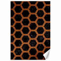 Hexagon2 Black Marble & Rusted Metal (r) Canvas 20  X 30   by trendistuff