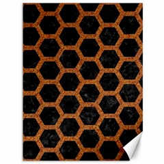 Hexagon2 Black Marble & Rusted Metal (r) Canvas 36  X 48   by trendistuff