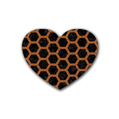 Hexagon2 Black Marble & Rusted Metal (r) Heart Coaster (4 Pack)