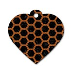 HEXAGON2 BLACK MARBLE & RUSTED METAL (R) Dog Tag Heart (One Side) Front