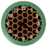 HEXAGON2 BLACK MARBLE & RUSTED METAL (R) Color Wall Clocks Front