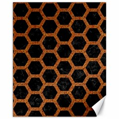 Hexagon2 Black Marble & Rusted Metal (r) Canvas 11  X 14   by trendistuff