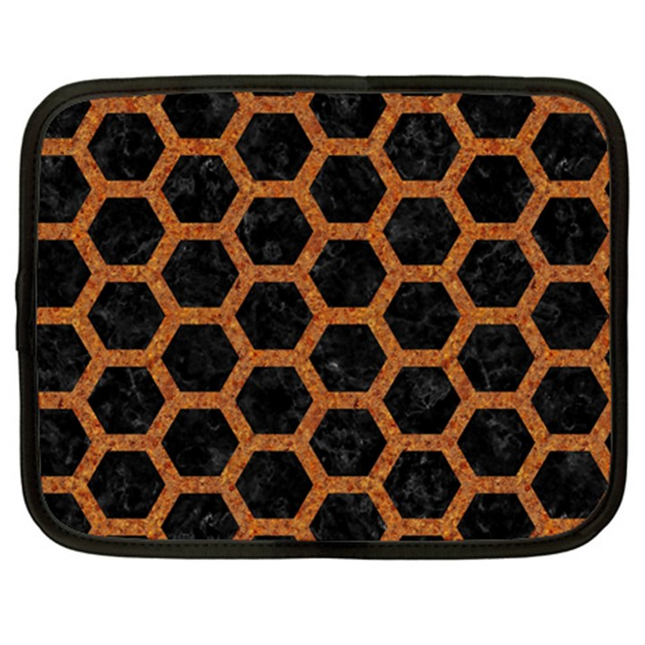 HEXAGON2 BLACK MARBLE & RUSTED METAL (R) Netbook Case (XL)
