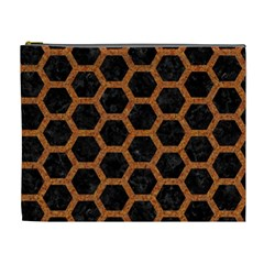 Hexagon2 Black Marble & Rusted Metal (r) Cosmetic Bag (xl) by trendistuff